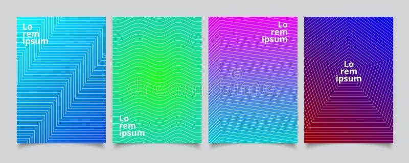 Stellen Sie Schablone, die minimale Abdeckungen entwerfen, buntes Halbton w der Steigung ein stock abbildung