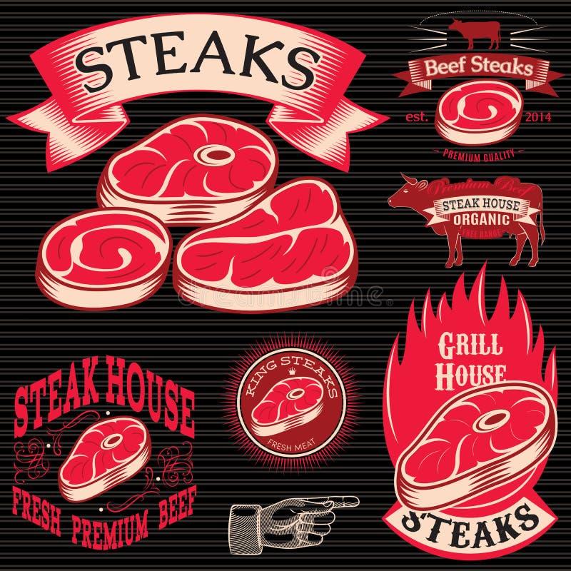 Stellen Sie Schablone für das Grillen, Grill, Steakhaus, Menü ein lizenzfreie abbildung