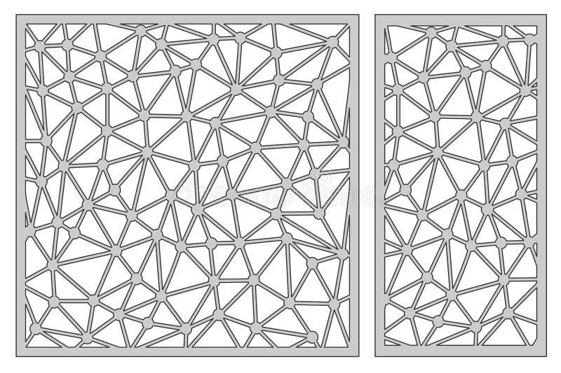 Stellen Sie Schablone für den Schnitt ein Abstrakte Zeile Muster Laser-Schnitt Rati stock abbildung