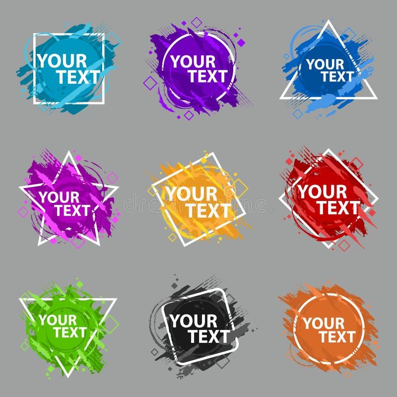 Stellen Sie Schmutzspritzenfahne ein Vektor plätschern Aufkleber mit Raum für Text Grunge Kennsatz stock abbildung