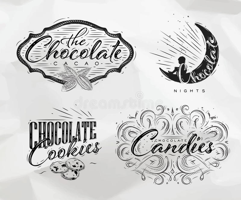 Stellen Sie Schokoladenaufkleber ein stock abbildung