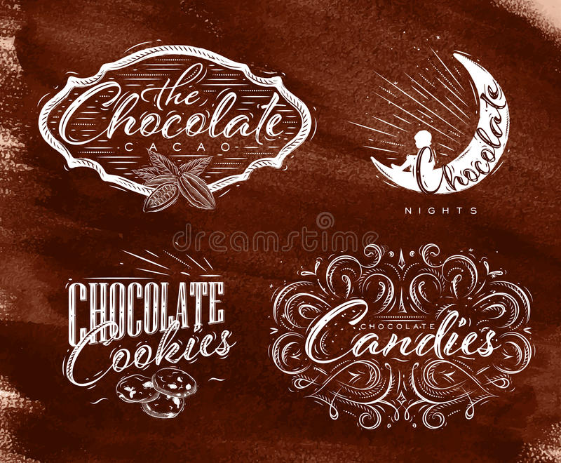 Stellen Sie Schokoladenaufkleberbraun ein stock abbildung