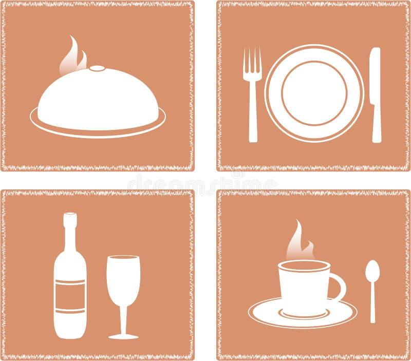 Stellen Sie Serviette mit Gaststättenachrichten ein stock abbildung