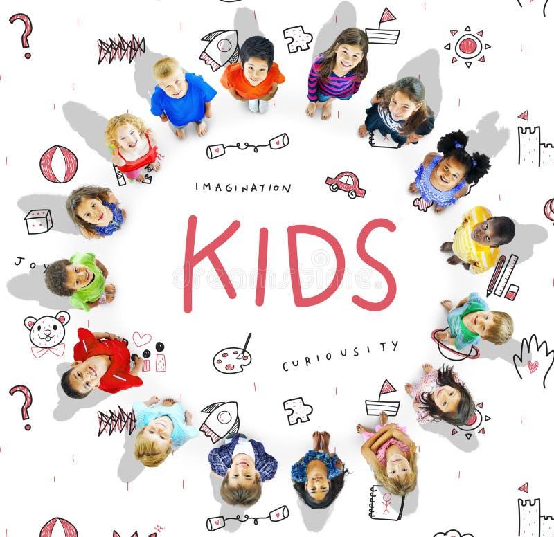 Stellen Sie sich Kinderfreiheits-Bildungs-Ikone Conept vor vektor abbildung