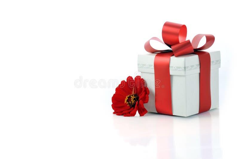 Stellen Sie sich mit rotem Farbband und Blume dar lizenzfreies stockbild