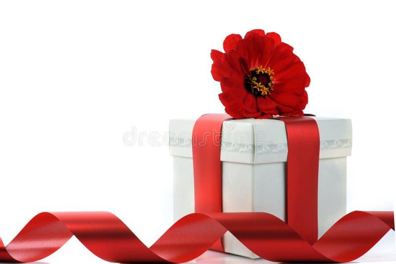 Stellen Sie sich mit rotem Farbband und Blume dar lizenzfreie stockfotografie