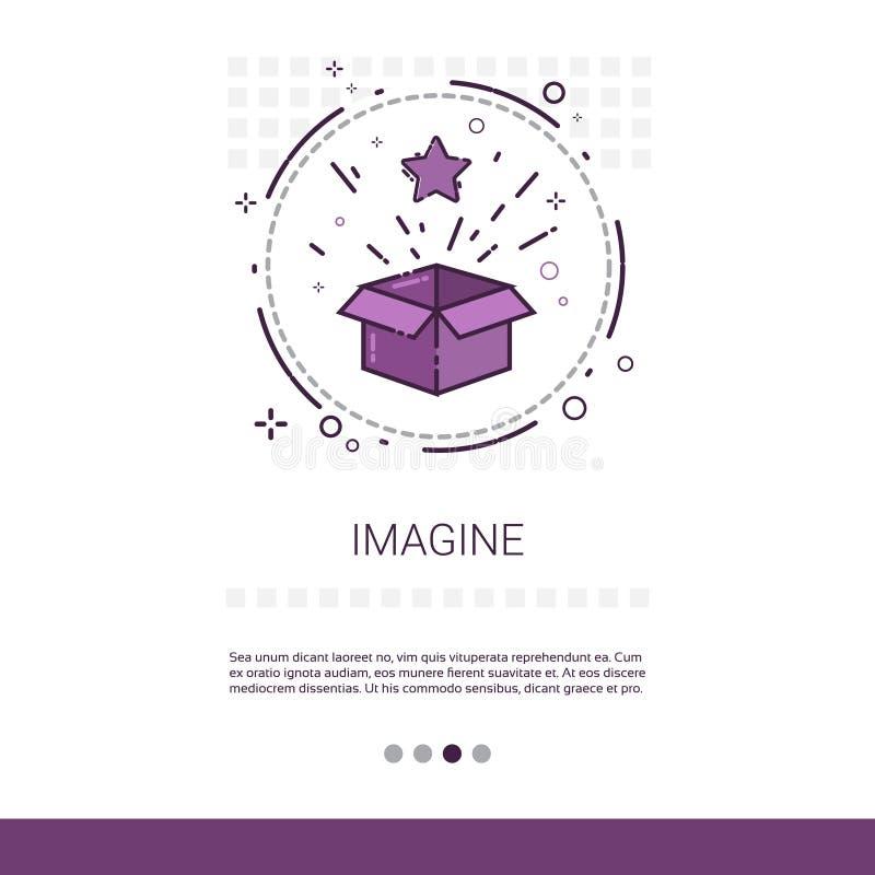 Stellen Sie sich neue Ideen-Inspirations-kreative Prozessgeschäfts-Netz-Fahne mit Kopien-Raum vor lizenzfreie abbildung