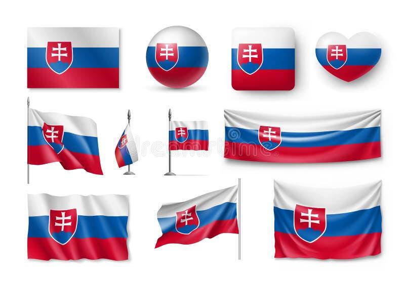 Stellen Sie Slowakei-Flaggen, Fahnen, Fahnen, Symbole, flache Ikone ein lizenzfreie abbildung