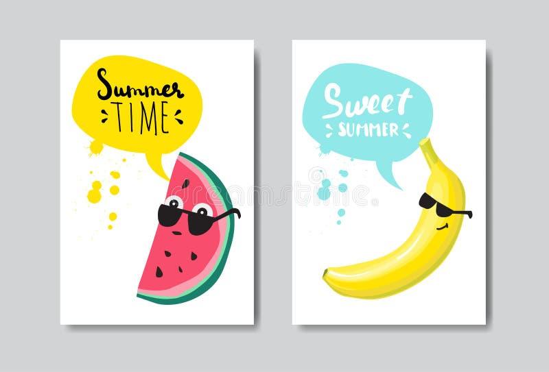 Stellen Sie Sommerwassermelonenbanane Ausweis lokalisierten typografischen Design-Aufkleber ein Jahreszeit-Feiertage, die für Log stock abbildung