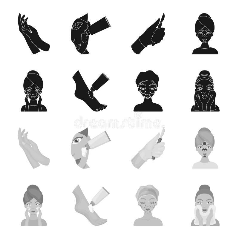 Stellen Sie Sorgfalt, plastische Chirurgie, das Gesichtsabwischen gegenüber und die Füße befeuchten Gesetzte Sammlungsikonen der  stock abbildung