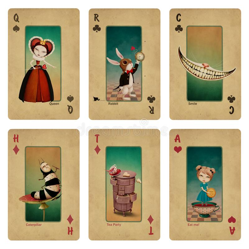 Stellen Sie Spielkarten der Fantasiegeschichte ein lizenzfreie abbildung