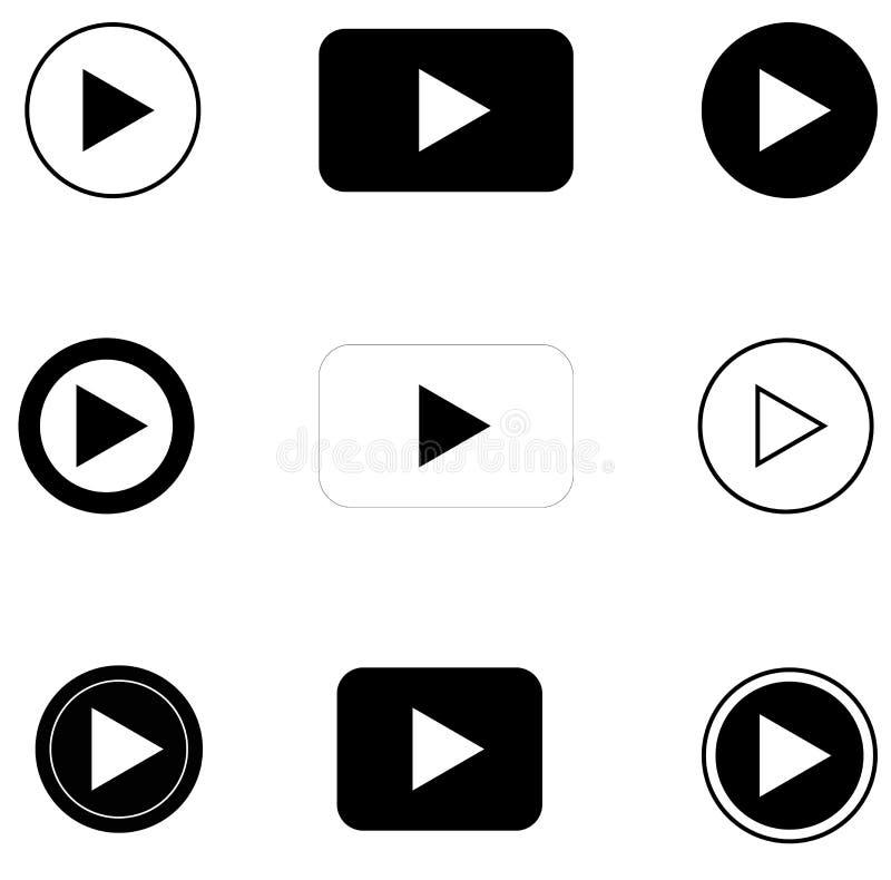 Stellen Sie Spielknopf auf weißem Hintergrund ein Flache Art Spielikonen lizenzfreie abbildung
