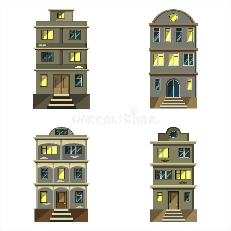 Stellen Sie Stadtwohngebäude ein stock abbildung