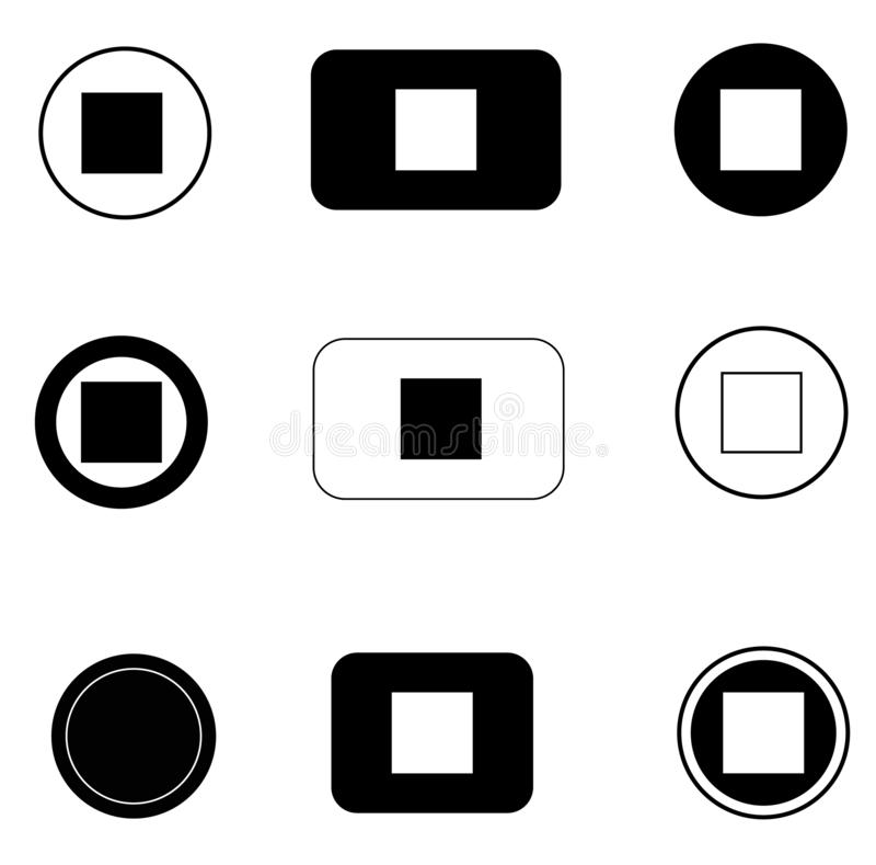 Stellen Sie STOPP-Taste Ikone auf weißem Hintergrund ein Flache Art STOPP-Taste Ikone für Ihren Websiteentwurf, Logo, App, UI Sto vektor abbildung