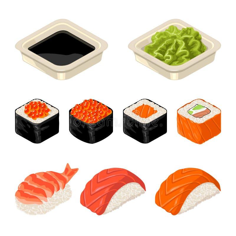 Stellen Sie Sushirolle ein Getrennt auf dunklem Hintergrund Flache Illustration des Vektors Farb stock abbildung