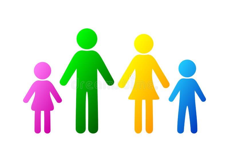 stellen Sie Symbolperson ein: Mutter, Vater und Kinder getrennt auf Weiß lizenzfreie abbildung