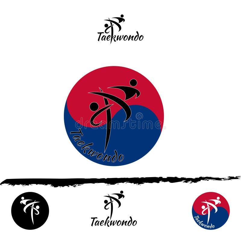 Stellen Sie Taekwondo-Logo ein lizenzfreie abbildung