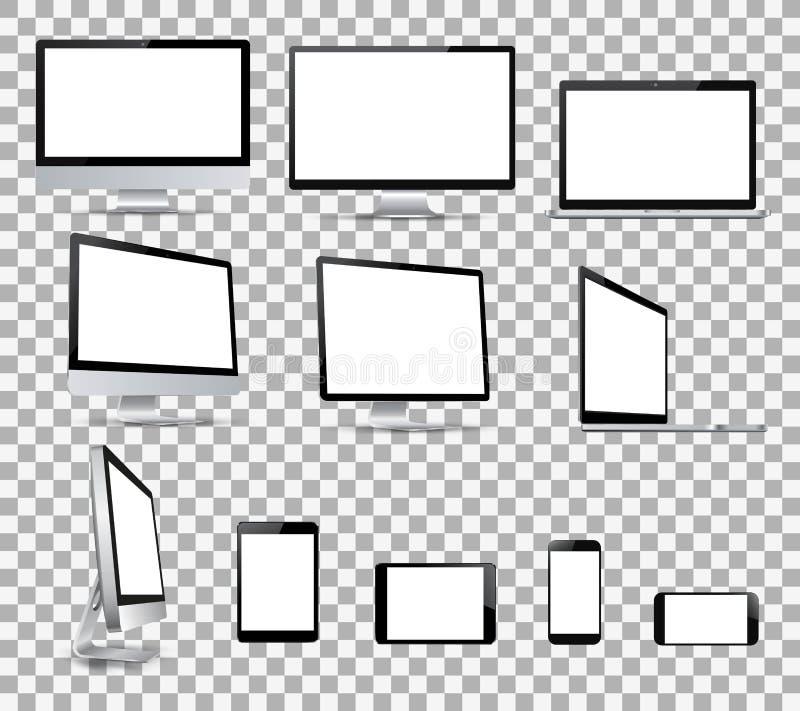 Stellen Sie Technologiegeräte mit weißer Anzeige - für Vektor auf Lager ein vektor abbildung