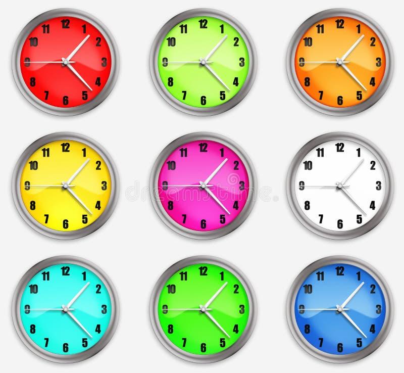 Stellen Sie Uhren mit Pfeilen auf einem weißen Hintergrund ein stock abbildung