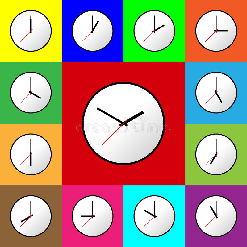 Download Stellen Sie Uhrikone Vektor-Illustrationsdesign EPS10 Ein Vektor Abbildung - Illustration von stunde, gefärbt: 90235873