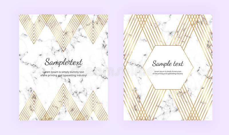 Stellen Sie unbedeutende Plakate, weiße Marmorbeschaffenheit mit Goldlinien ein Elegante geometrische LuxusDesigne Schablone für  vektor abbildung