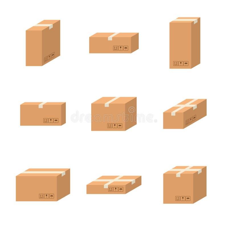 Stellen Sie unterschiedlichen Größenkarton der Lieferungspappschachteln ein vektor abbildung