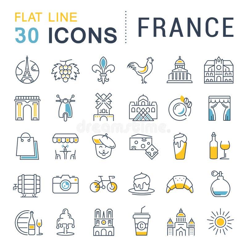 Stellen Sie Vektor-flache Linie Ikonen Frankreich und Paris ein vektor abbildung