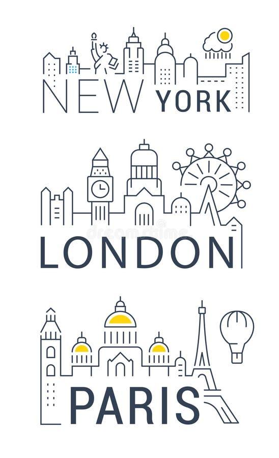 Stellen Sie Vektor-Linie Fahnen Paris, London und New York ein vektor abbildung