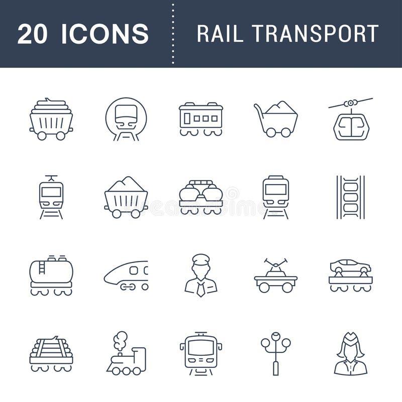 Stellen Sie Vektor-Linie Ikonen des Schienenverkehrs ein vektor abbildung
