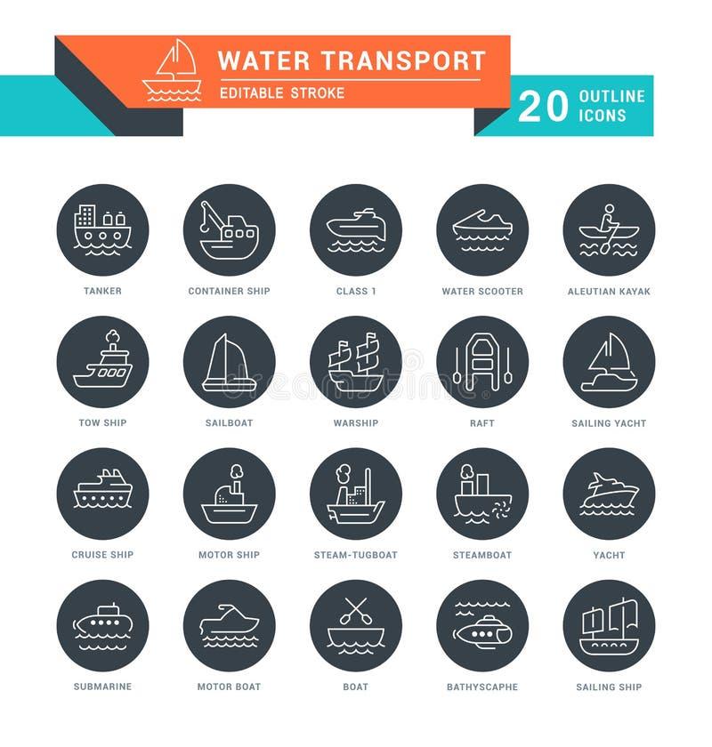 Stellen Sie Vektor-Linie Ikonen des Wasser-Transportes ein lizenzfreie abbildung