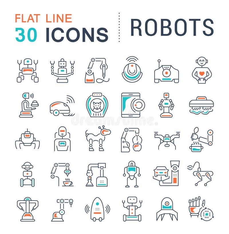 Stellen Sie Vektor-Linie Ikonen von Robotern ein stock abbildung