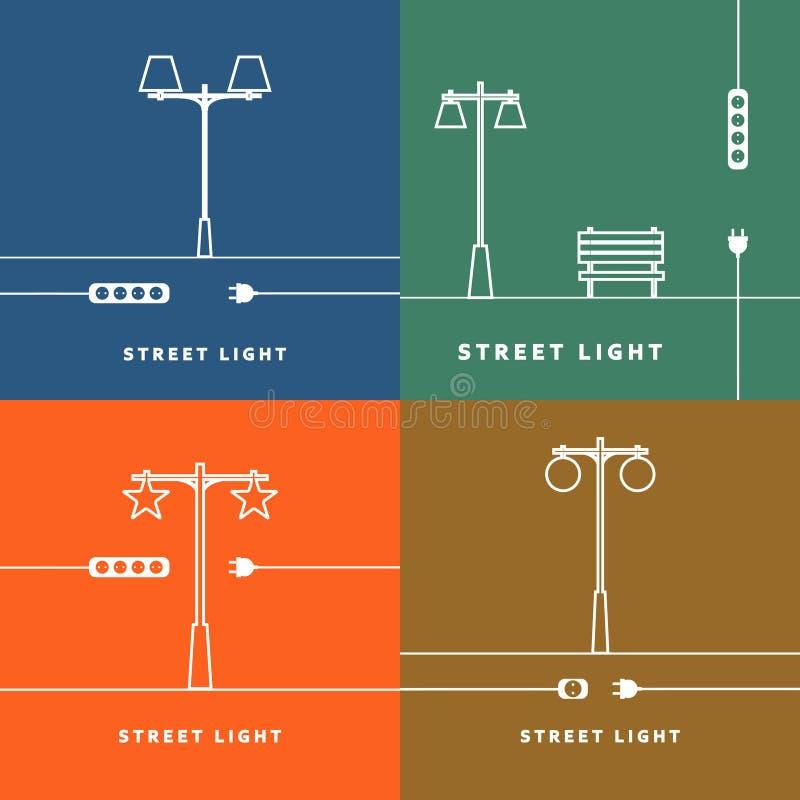 Stellen Sie 4 Vektorstraßenlaterne und Sockelikone ein lizenzfreie abbildung