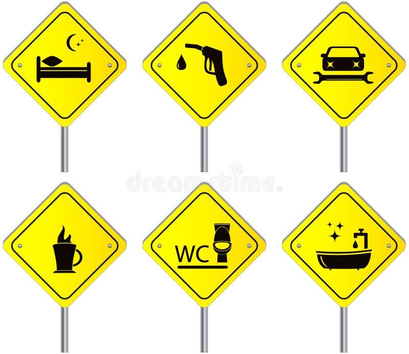 Stellen Sie Verkehrsschilder mit Services für Reise und Auto ein lizenzfreie abbildung