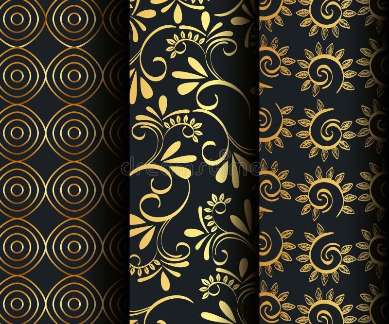 Stellen Sie Victorian und goldene mit Blumenhintergründe ein stock abbildung