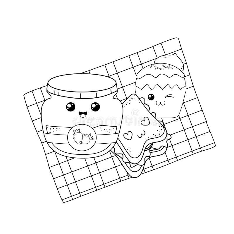 Stellen Sie vom Bäckereinahrung-kawaii in der Picknicktischdecke ein stock abbildung