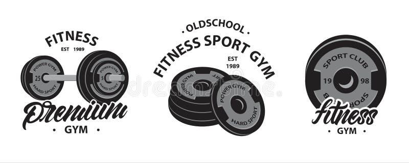 Stellen Sie vom Bodybuilding, von den Eignungsemblemen oder von den Logos mit Gewichtheben Barbell, Sportdisketten für Dummkopf e stock abbildung