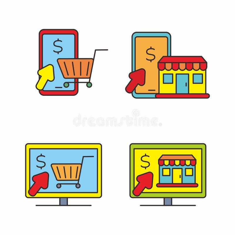 Stellen Sie vom E-Commerce und von der on-line-Einkaufsvektorillustration, on-line-Einkaufsikone ein stock abbildung