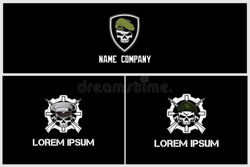 Stellen Sie vom einfachen Militärschädel mit Gewehrvektor-Logoschablone ein stock abbildung