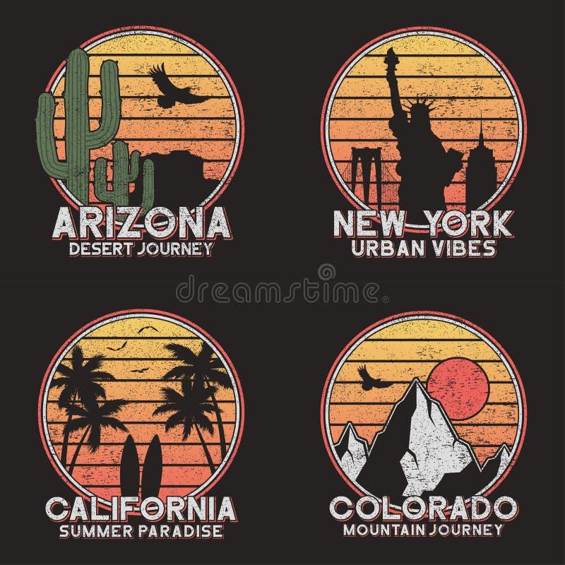 Stellen Sie vom Entwurf für amerikanisches Slogant-shirt ein Arizona-, New- York, Colorado- und Kalifornien-Typografiegraphiken f stock abbildung