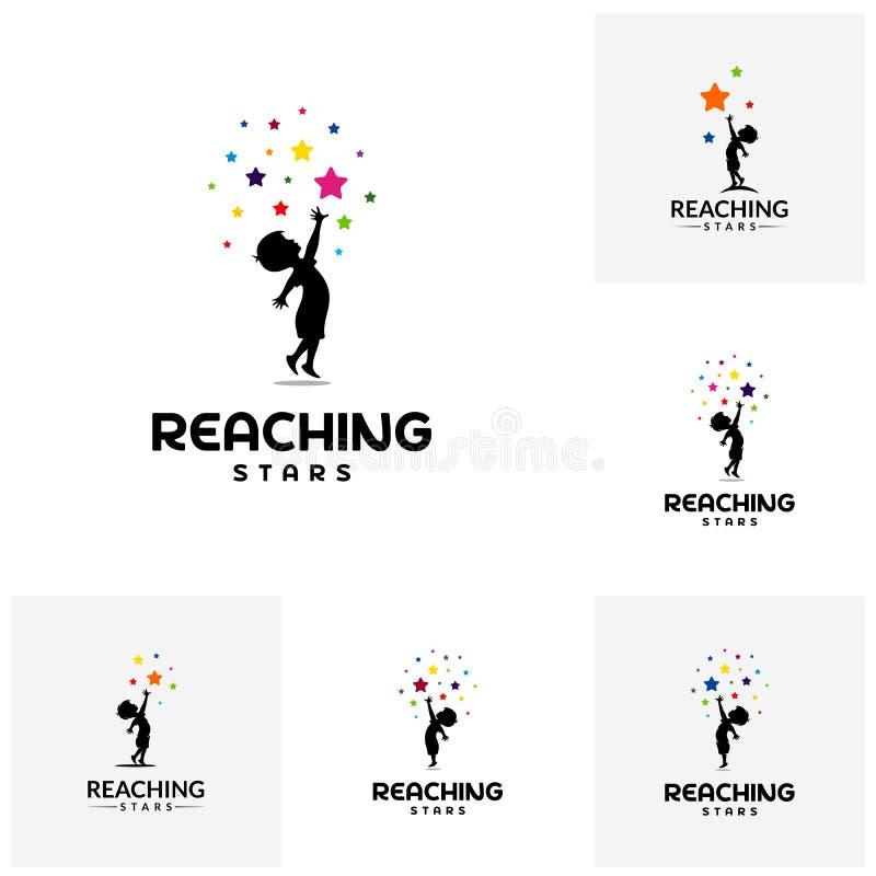 Stellen Sie vom Erreichen von Sternen Logo Design Template ein Traumsternlogo Emblem, buntes, kreatives Symbol, Ikone stock abbildung