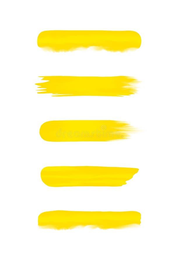 Stellen Sie vom gelben Streifen ein, der im Aquarell gemalt wird, das auf weißem Hintergrund, gelber Wasserfarbbürstenanschlagsat lizenzfreie abbildung