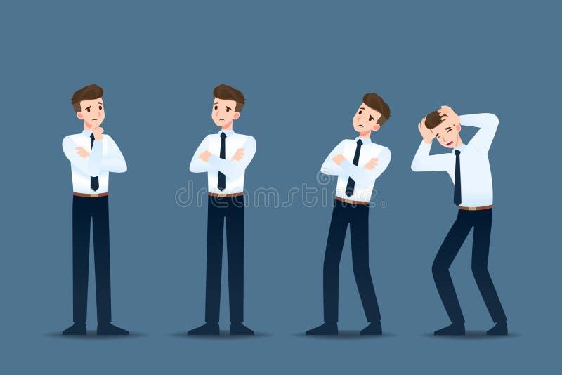 Stellen Sie vom Geschäftsmann in 4 verschiedenen Gesten ein Leute in den Geschäftscharakterhaltungen wie dem Denken, Interesse vektor abbildung