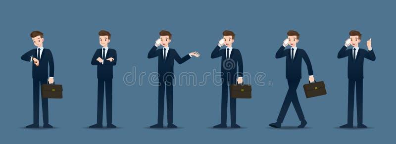 Stellen Sie vom Geschäftsmann in 6 verschiedenen Gesten ein Leute in den Geschäftscharakterhaltungen wie der Aufwartung, stehen u vektor abbildung