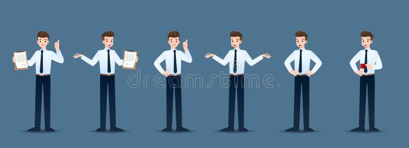 Stellen Sie vom Geschäftsmann in 6 verschiedenen Gesten ein Leute in den Geschäftscharakterhaltungen wie der Aufwartung, stehen u lizenzfreie abbildung