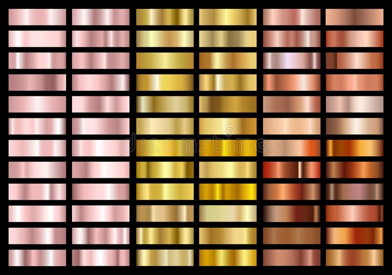 Stellen Sie vom Goldrosen-, Gold- und Kupferfolienbeschaffenheits-Abstufungshintergrund ein Metallische Steigungsmuster Glänzende stock abbildung