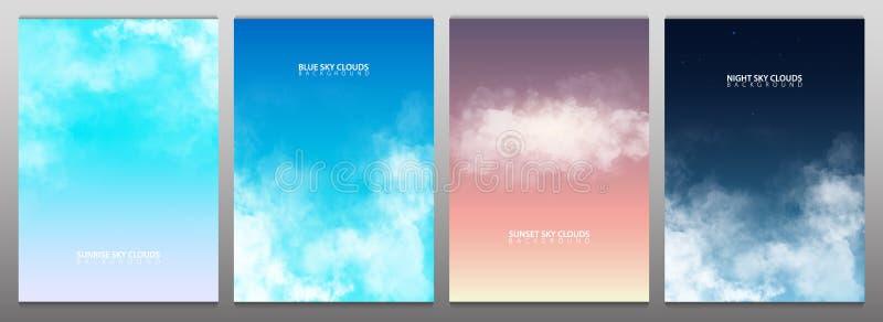 Stellen Sie vom Himmel mit weißen realistischen Wolken ein Sonnenuntergang, Sonnenaufgang Blau und nächtlicher Himmel Auch im cor lizenzfreie abbildung