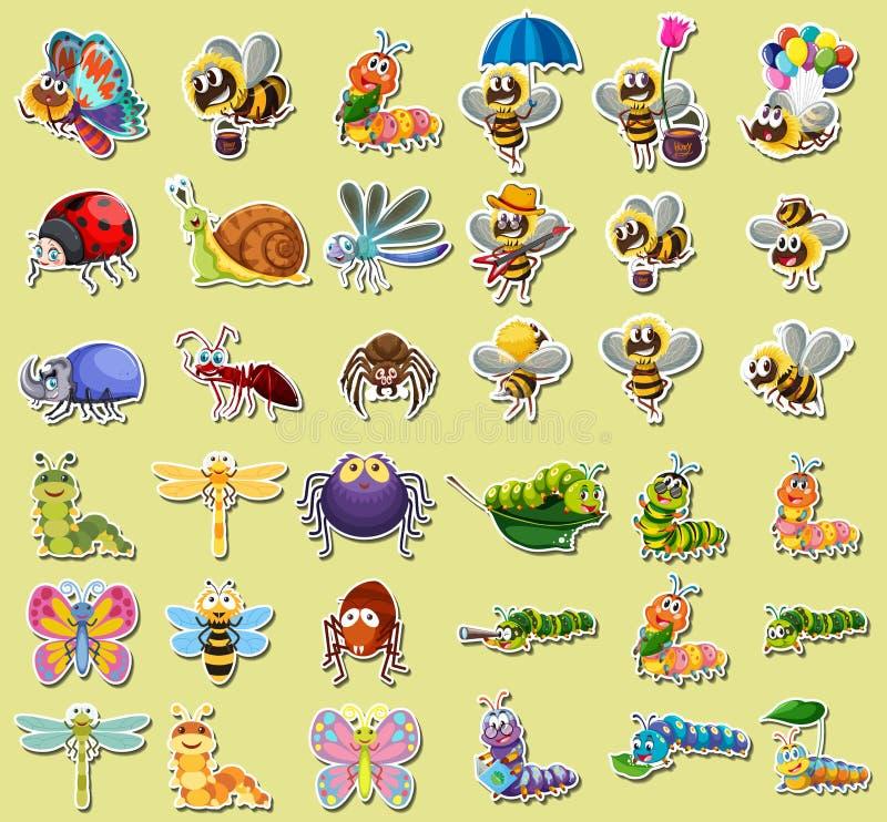 Stellen Sie vom Insektenaufkleber ein vektor abbildung