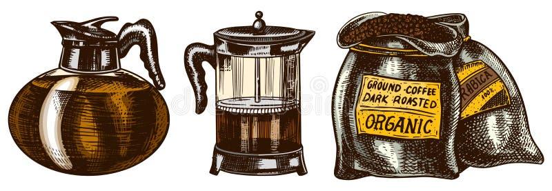 Stellen Sie vom Kaffee in der Weinleseart ein Filter-Hersteller Presse der Tasche französischer Handgezogene gravierte Retro- Ski stock abbildung