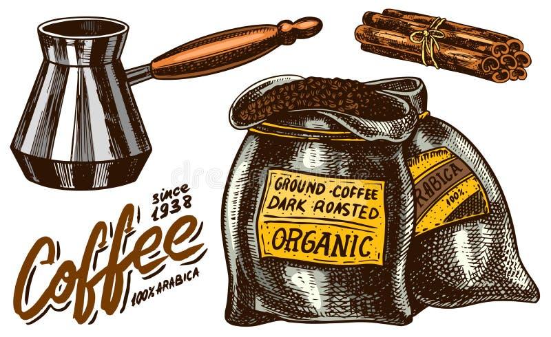 Stellen Sie vom Kaffee in der Weinleseart ein Kalligraphische Aufschrift und Zimtstangen, Taschen-und Filter-Hersteller Hand geze lizenzfreie abbildung
