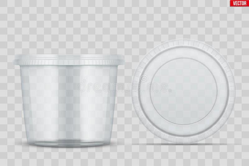 Stellen Sie vom klaren Plastikbeh?lter f?r Nahrung ein vektor abbildung